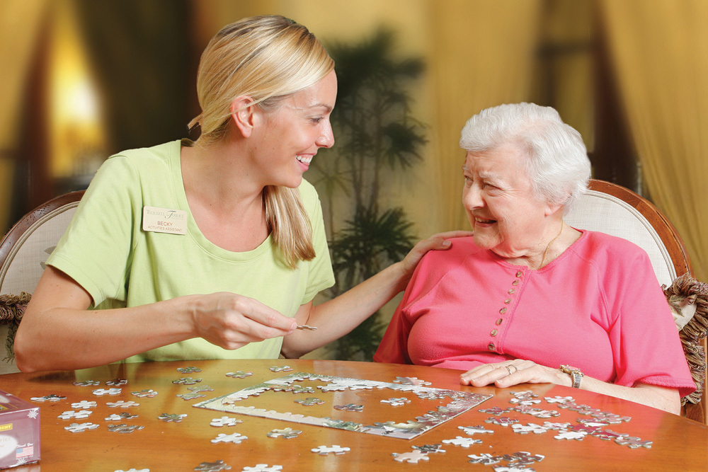 Playing with a puzzled senior