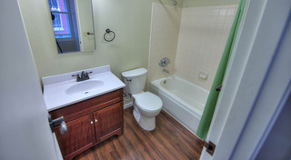 Bathroom at our historic apartment building in leadville