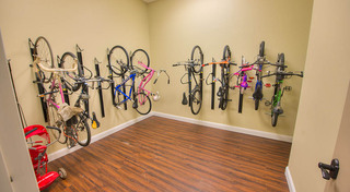Bicycle room at our historic apartment building in leadville