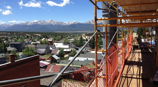View from the balcony at our historic apartment building in leadville