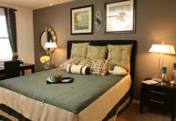 Towns of Riverside aparment home model bedroom in Grand Prairie