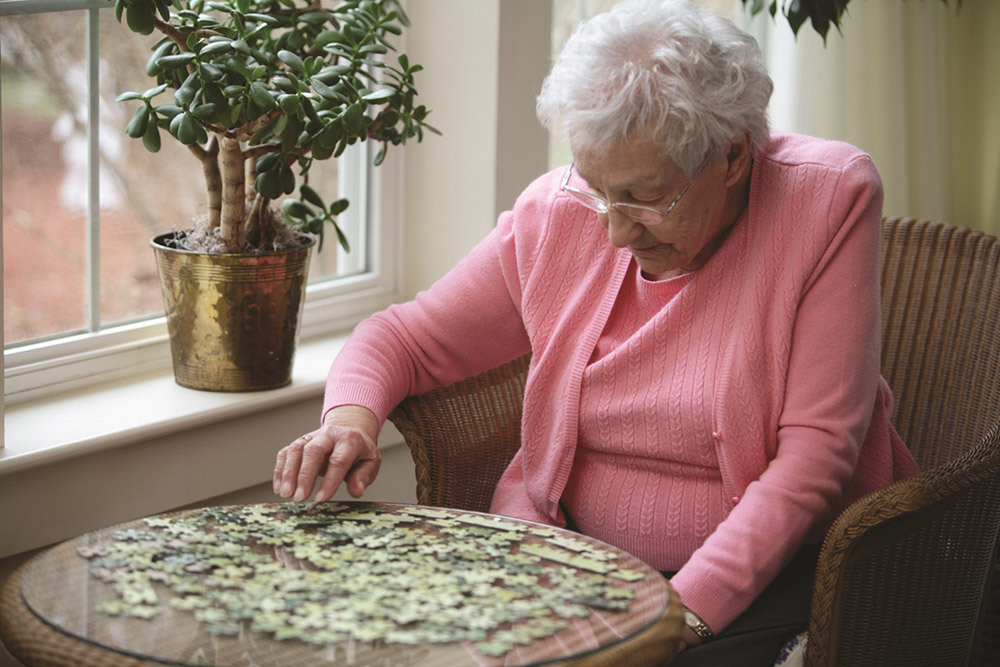 Woman enjoying quiet time at valley terrace
