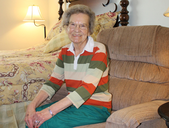 happy short term residents enjoy conversation at Meadowview Assisted Living