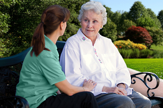 Large memory care bench lady