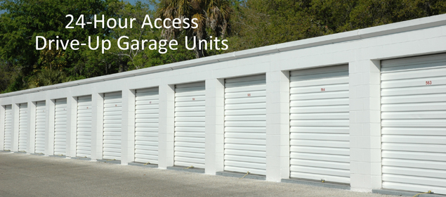2 24 hour access drive up garage units
