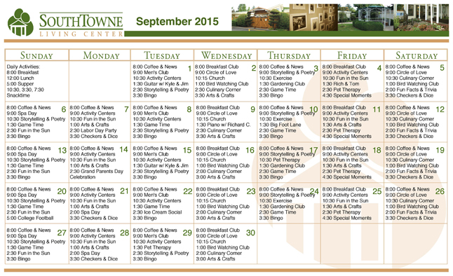 SouthTowne September 2015 activities calendar