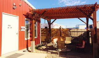 Shaded patio at rv park in tx