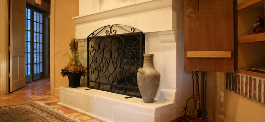 Office lobby fireplace at the Franciscan of Arlington apartments in Arlington, TX.