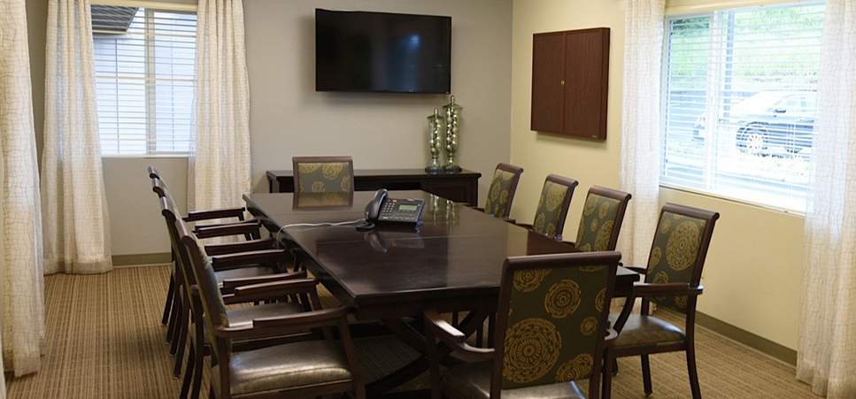 Our well appointed conference room is available for guests