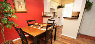 Dining room and kitchen option at the saddlewood apartments