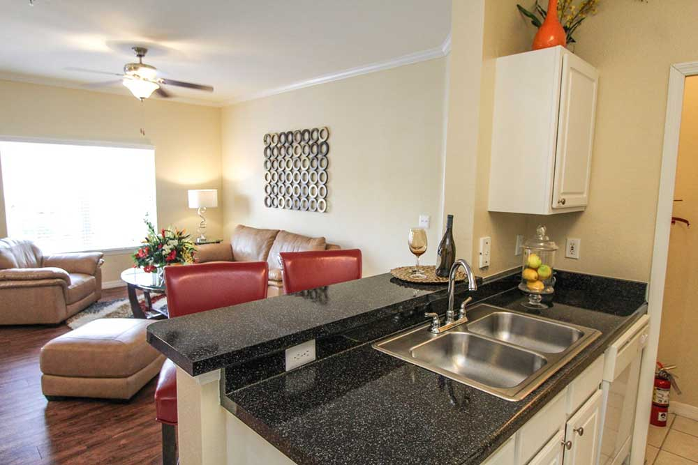 Faux granite countertops at our apartments in brandon