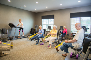 Leg exercises at our senior living facility in loveland