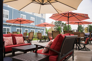 Outside dining at our senior living facility in loveland
