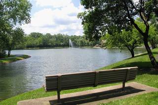 Bench by the lake at house