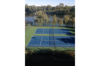 Tennis courts at lake house