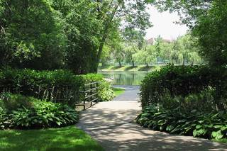 Well manicured paths at lake house