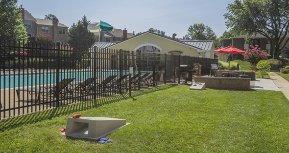 A swimming pool  is included in the amenities for apartments in Falls Church