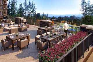 Terrace overlooking pickleball courts and the valley