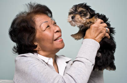 A resident and their little puppy Broadmore Senior Living at Hagerstown.