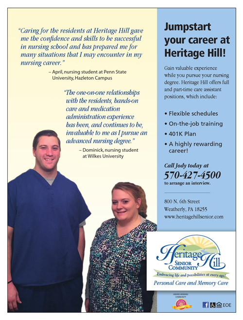 Careers at Heritage Hill Senior Community Weatherly, PA
