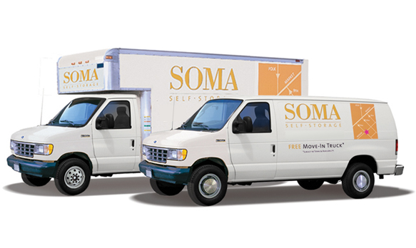 Self storage free moving truck and van SOMA Self-Storage