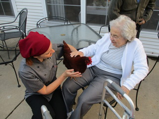 Therapy chickens at the birches assisted living