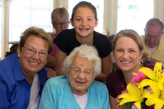 Three generations of women at our senior living home in frisco