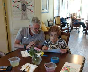 Memory Care Residents Enjoy Art Class with Jim