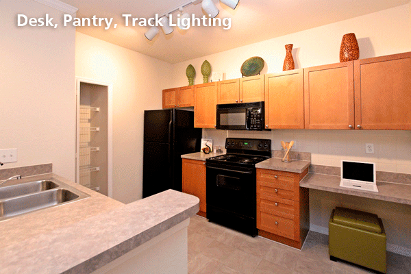 Desk pantry track lighting
