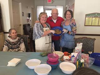 Parsons House Preston Hollow volunteers cooking with residents
