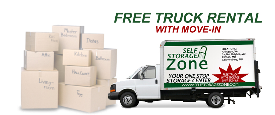 Self Storage Zone in Maryland offers free truck rentals