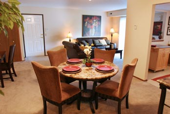 Portage Pointe Apartment Homes in Streetsboro, OH has floor plans that include contemporary dining spaces.