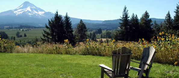 Lawn chairs with a mountain view Charlton Place Assisted Living