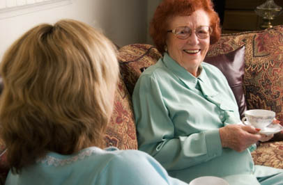 Nurse with senior resident at Broadmore Senior Living at Hagerstown assisted living in Hagerstown.