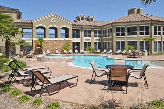 San antonio apartments community pool The Abbey at Grande Oaks