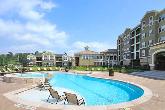 Woodlands apartments community pool The Abbey on Lake Wyndemere