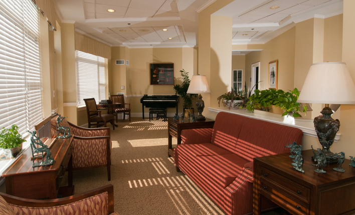 Assisted living lounge brighton ma Chestnut Park at Cleveland Circle