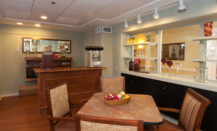 Snack bar for seniors at Chestnut Park at Cleveland Circle in Brighton, MA
