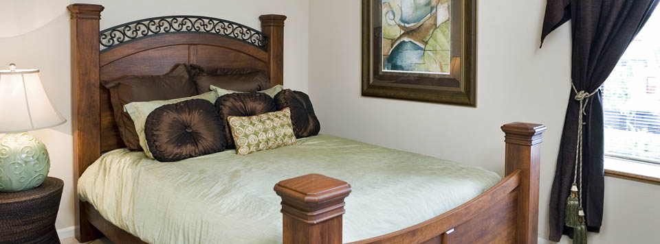 Model bedroom at Four Winds apartments in Overland Park