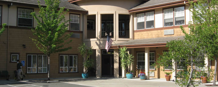 Close up of the senior living entryway in Pinole