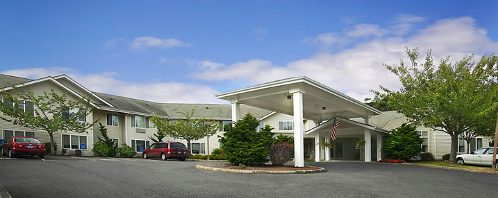 Drive-up exterior to the senior living home in Newport Oregon
