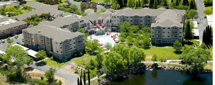 Aerial view of the senior living facility in Chico