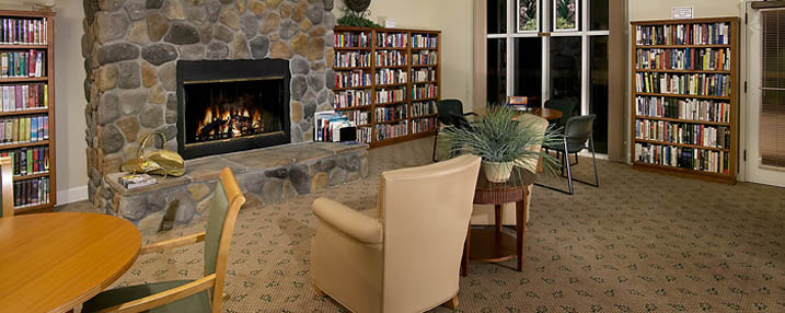 Read in the library next to the fireplace at the senior living facility in Chico