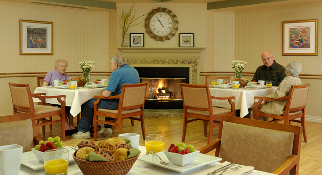 Residents of Garden View Care Center of OFallon and their guests enjoy meals in our dining room.