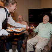 Residents of The Hearth at Castle Gardens retirement community dining