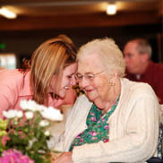 Senior woman and nurse enjoying Assisted Living at Pacifica.