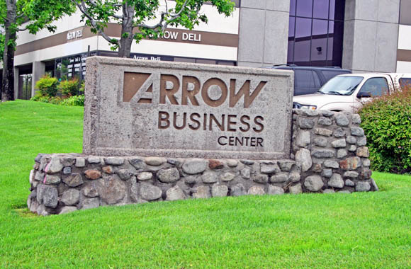 Entrance to Arrow Business Center a commercial business park in Rancho Cucamonga, CA