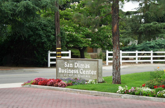 San Dimas Business Center and Industrial park entry sign