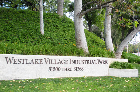 Street entry sign to Westlake Village Industrial Park