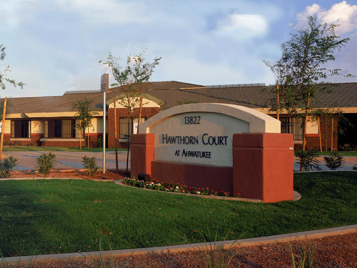 Phoenix arizona dementia care community entrance Hawthorn Court at Ahwatukee